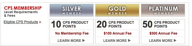 Canon CPS silver, gold, platinum membership
