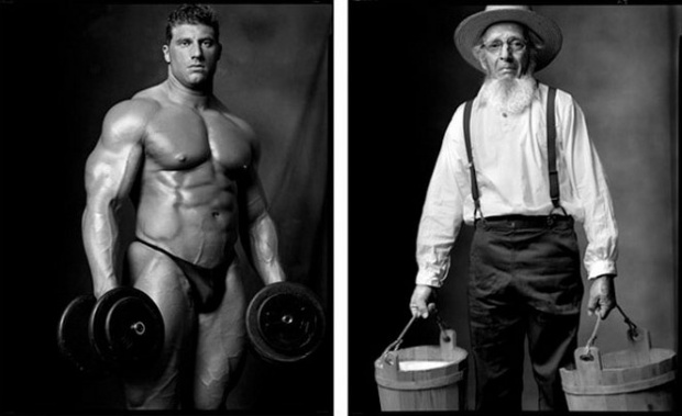 Photo : Mark Laita - Bodybuilder/Amish Farmer, 2006/2004