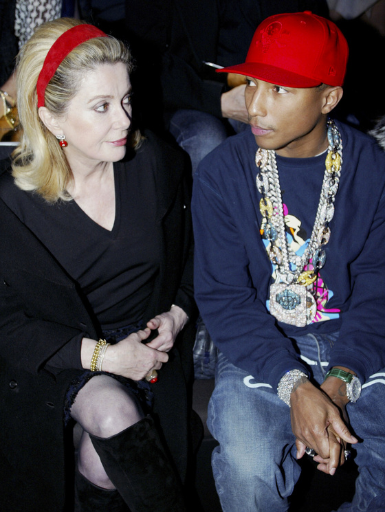 Photo: Catherine Deneuve, Pharell Williams, 2013. Photo T.C.D - Visual Press Agency ©
