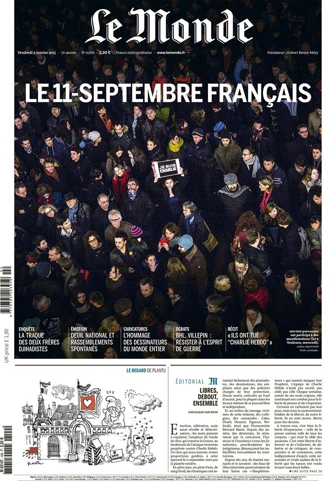 Couverture du Monde le 9 janvier 2015 - Photo : Ulrich Lebeuf