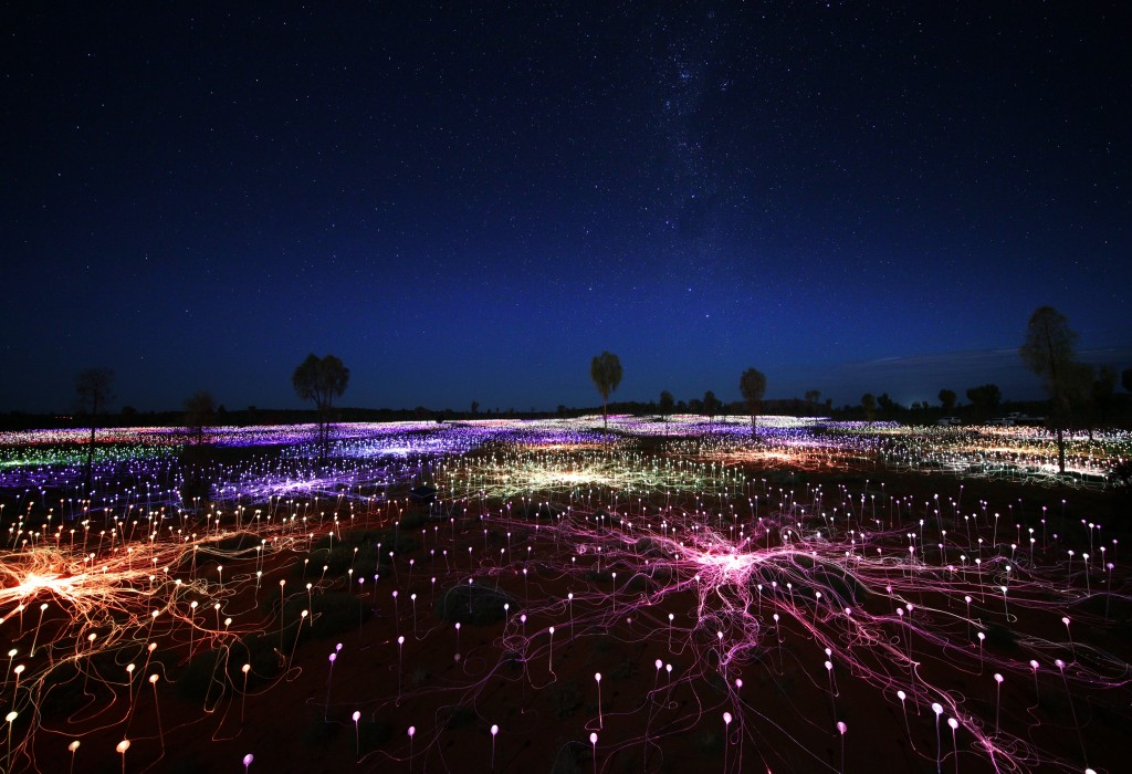 """Field of Light,"" in Uluru, Australia, by Bruce Munro (2016). Photo by Mark Pickthall"