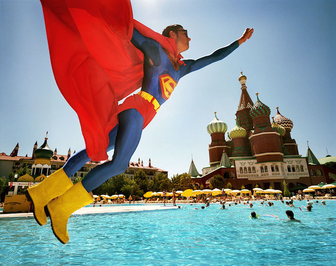 Turkey; Antalya; Lara Beach; World of Wonders, Kremlin Palace; Animator dressed as Superman © Reiner Riedler / Anzenberger