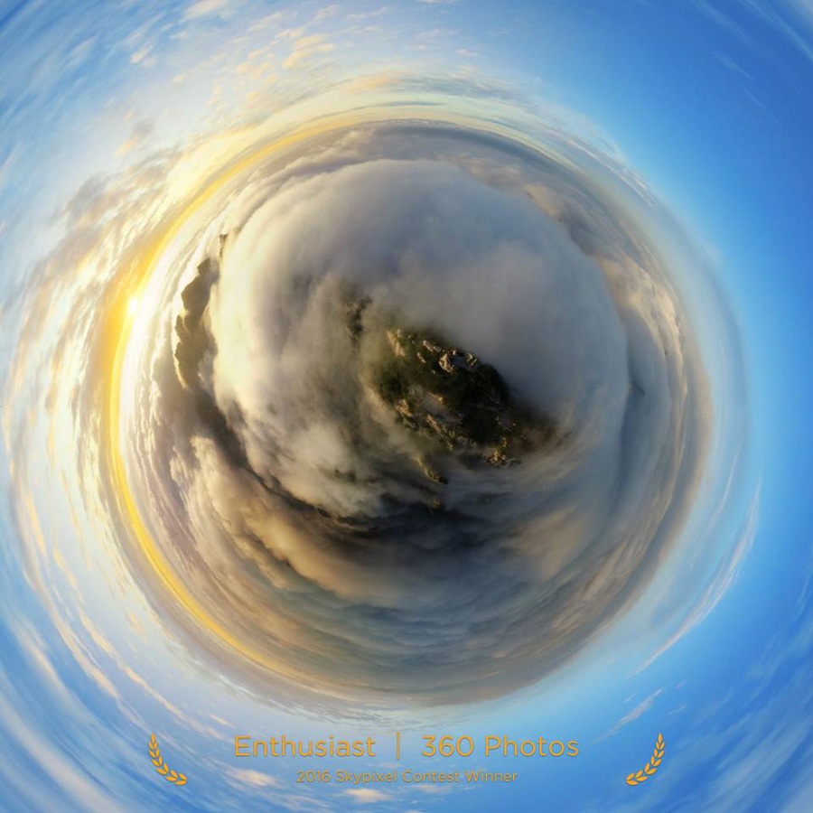 "SkyPixel Photo Contest 2016 Catégorie Enthusiast 360° Photos 3ème Prix / 陈军 ""The Sea of Clouds in Laojunshan"""