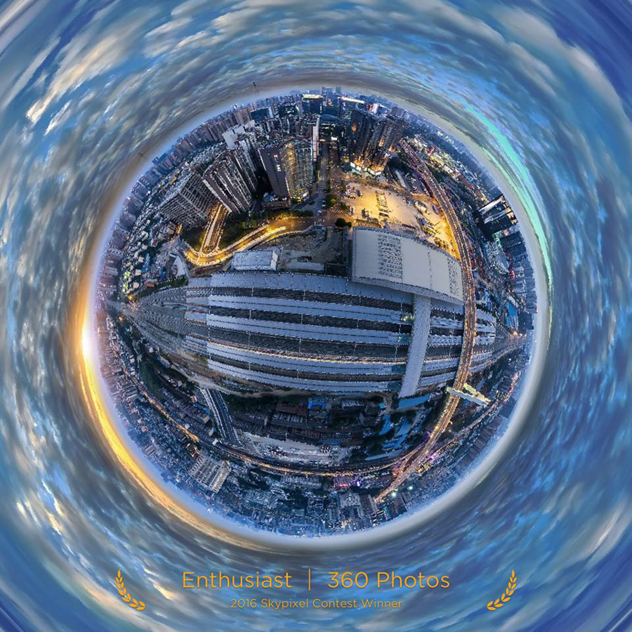 "SkyPixel Photo Contest 2016 Catégorie Enthusiast 360° Photos 2ème Prix / 久幺 ""Sunset of Chengdu"""