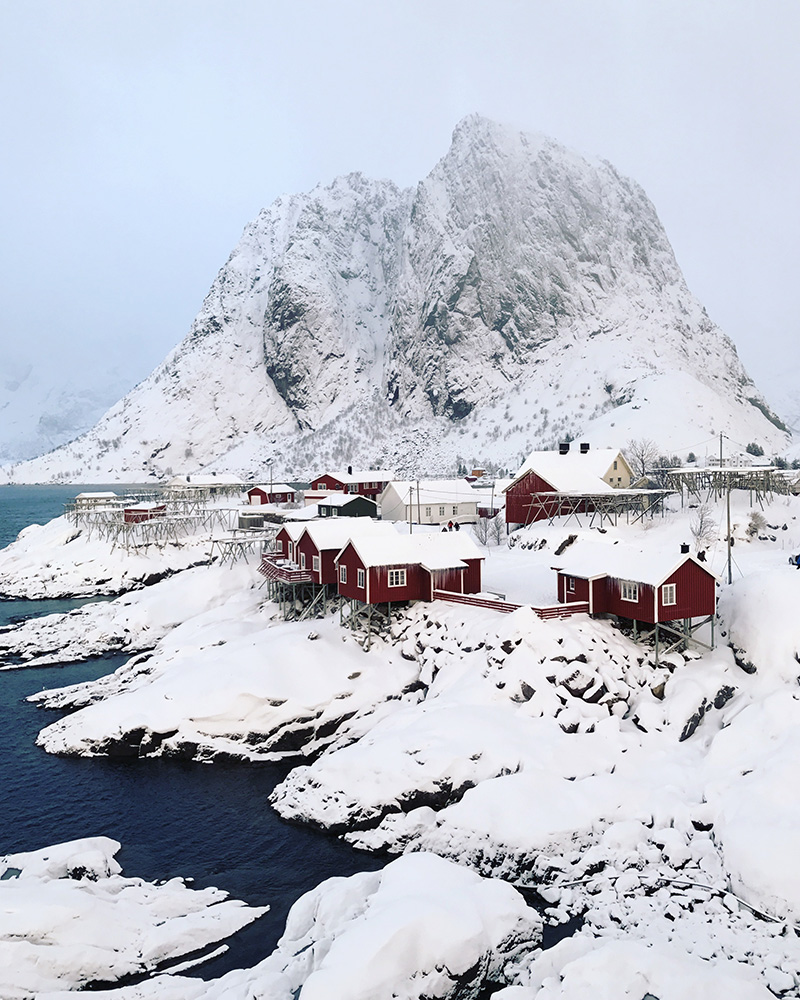 1stPlace iPhone Photography Awards-Travel Jen Pollack Bianco Seattle WA, United States 1st Place – Travel Snow + Fishing Cottages = Win Hamnoy, Norway