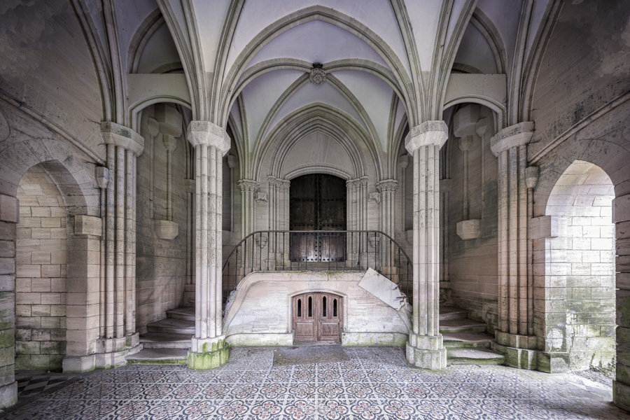 James Kerwin-Domum Dei THE GRAND ENTRANCE   THE STUNNING STAIRS THAT LEAD UP TO THIS HUGE AND DRAMATIC ABANDONED MONASTERY CHAPEL IN FRANCE.-