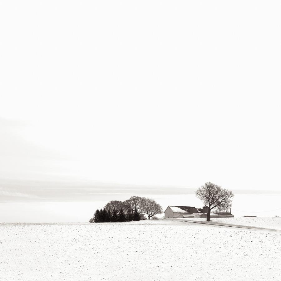 Paysage du Midwest américain sous la neige