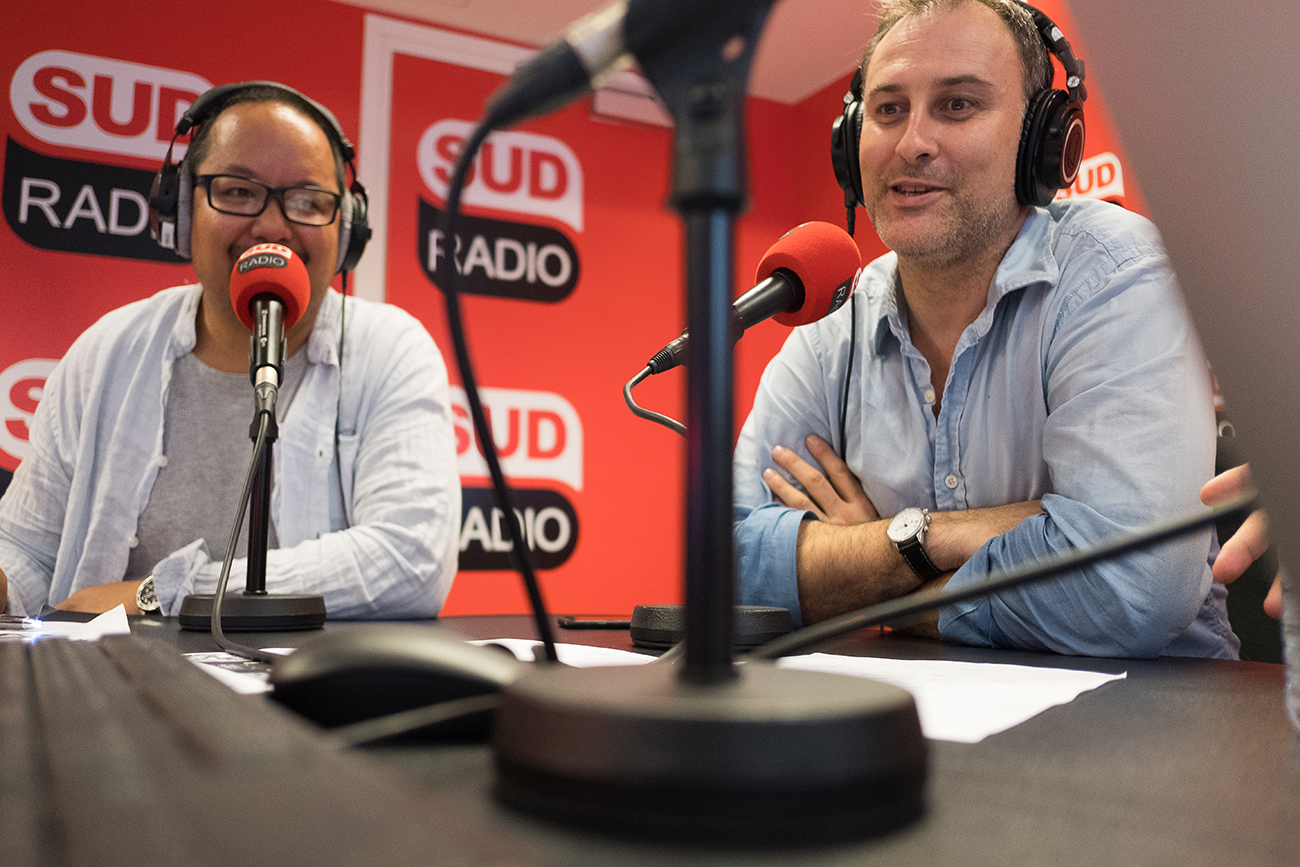 Thomy Keat et Marc Lavaud au micro de Sud Radio pour l'émission dominicale Le Grand Matin - Weekend