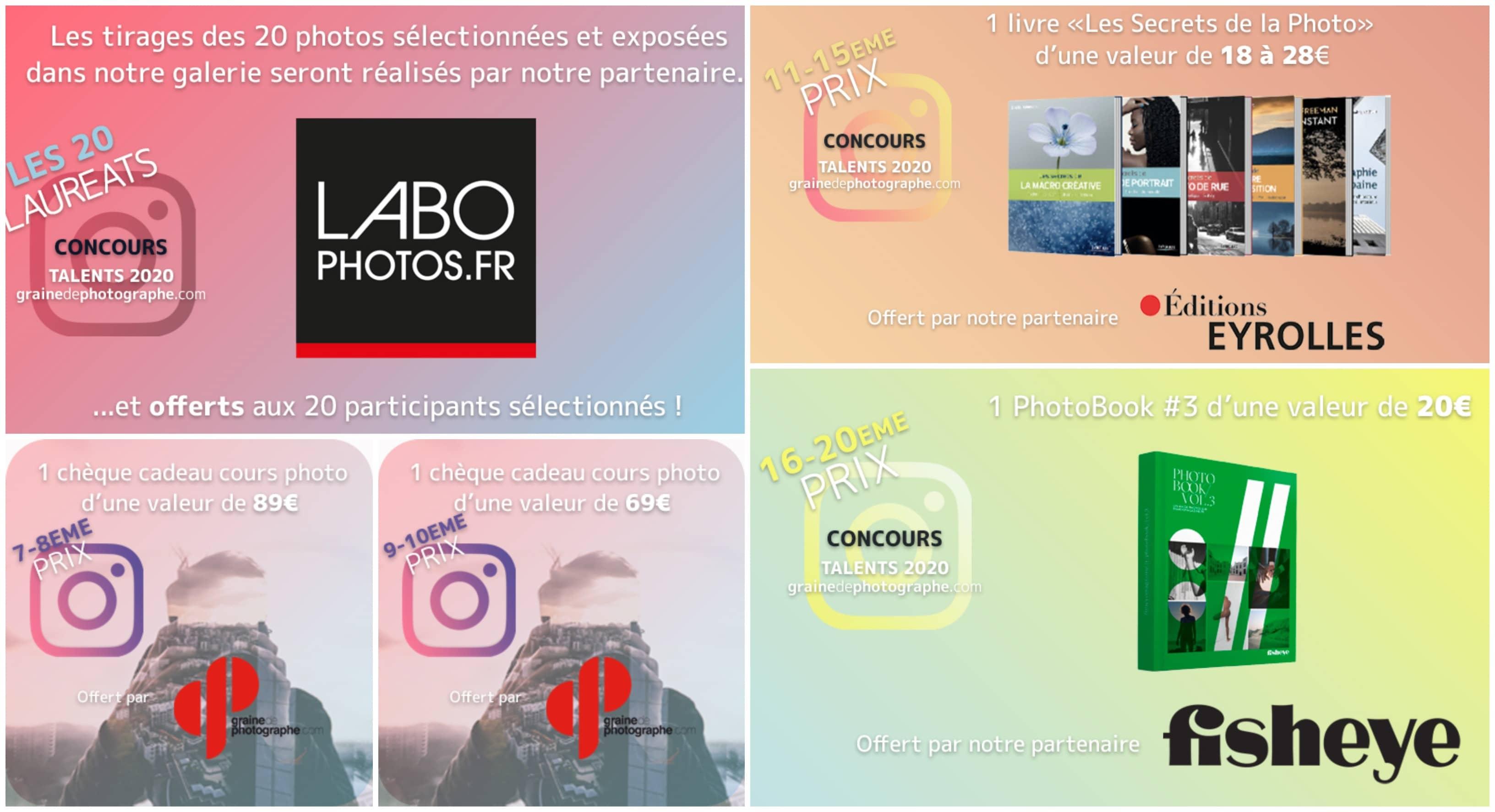 Plus de 2000€ lot seront remis aux gagnants désignés par notre jury final grâce à nos partenaires : Labophotos.fr, Ricoh Imaging Europe, MMF-Pro, Emtec, Eyrolles et Fisheye !
